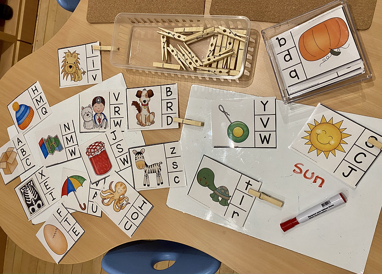 Cards with a picture and letters along the bottom. Children identify the beginning letter sound for the picture.