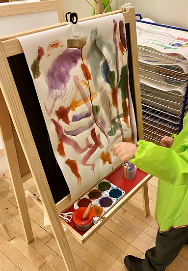 Child painting on an easel