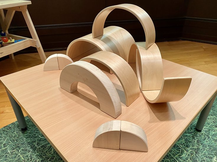 Half wooden blocks on a table