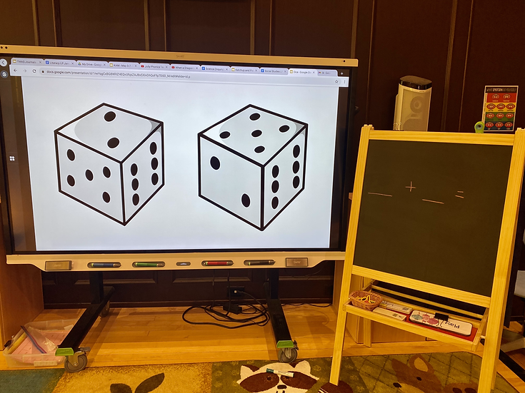 Smart Board with a picture of two dice