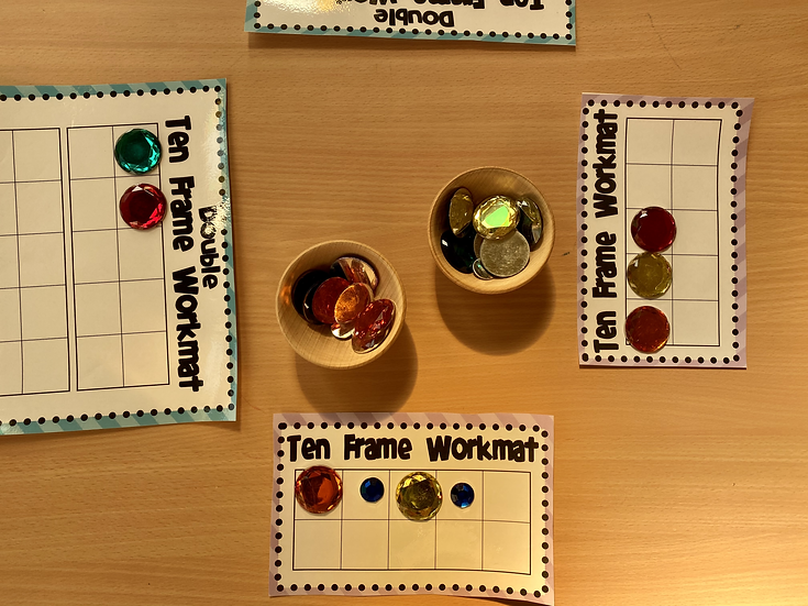 ten frames with counting beads