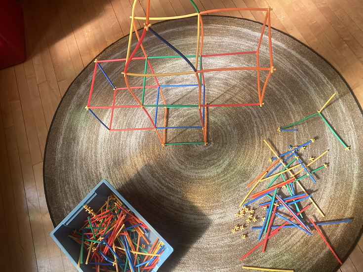 Structure made of connecting sticks.