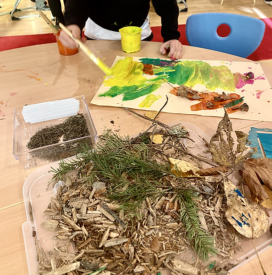 leaves, sticks, pine cones, and paint.