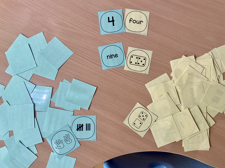 Number cards with numerals and number words.