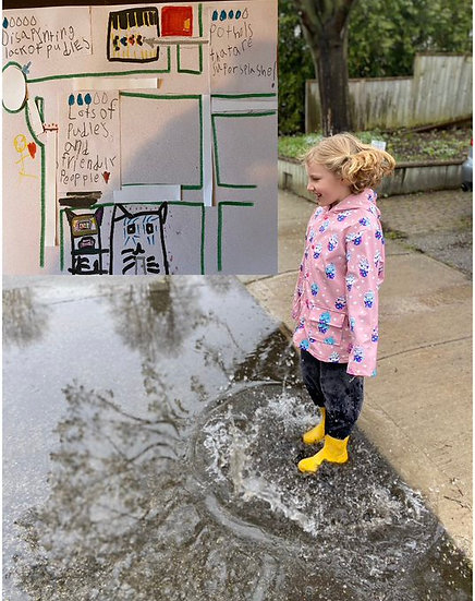 Child jumping in puddle