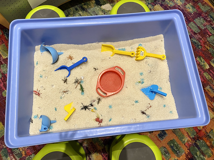Sand tray with toys