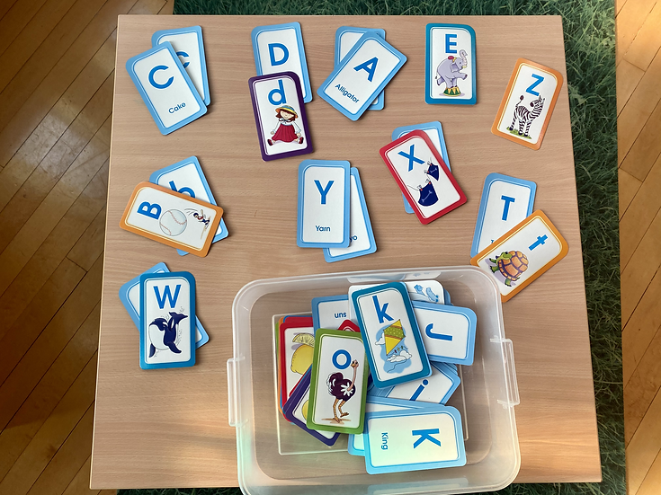 Alphabet cards with letter and picture on same card.