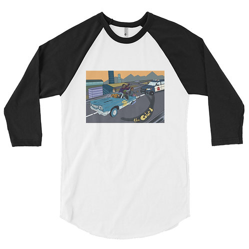 Car Chase 3/4 sleeve raglan shirt