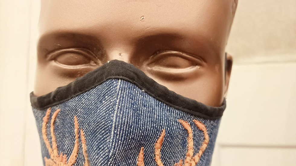 leather embroidered denim mask