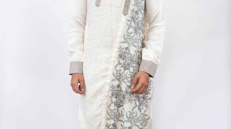 Handwoven embroidered linen kurta