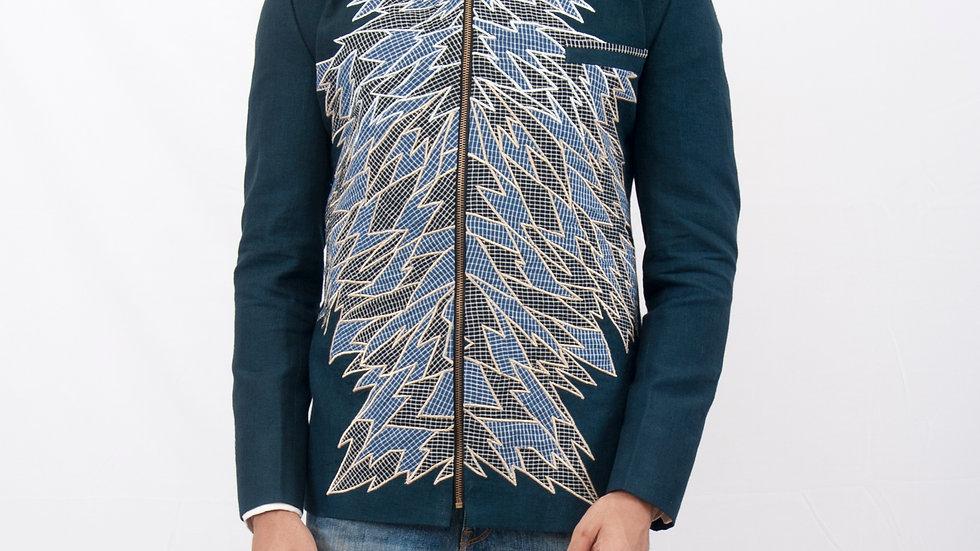 Handwoven linen appliqued jacket