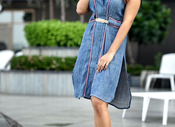 Handwoven Linen Denim Tunic dress