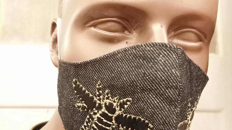 Bee embroidered linen denim mask