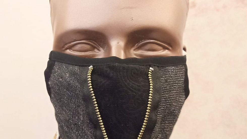 Zippered panelled covid Mask