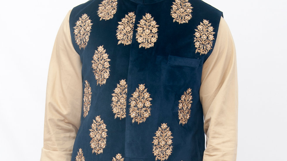 Hand Embroidered ethnic velvet bundi