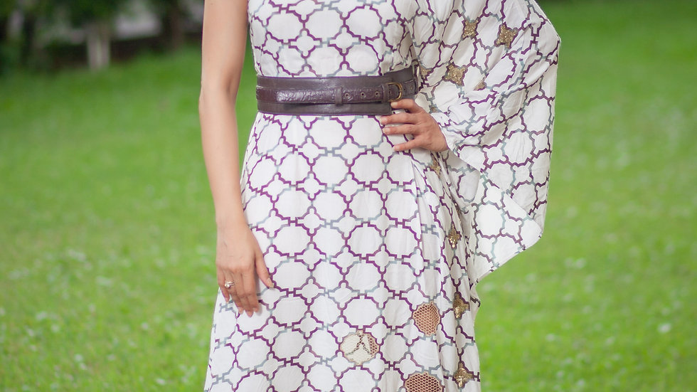 One shouldered goemetrical print and embroidered kaftan dress