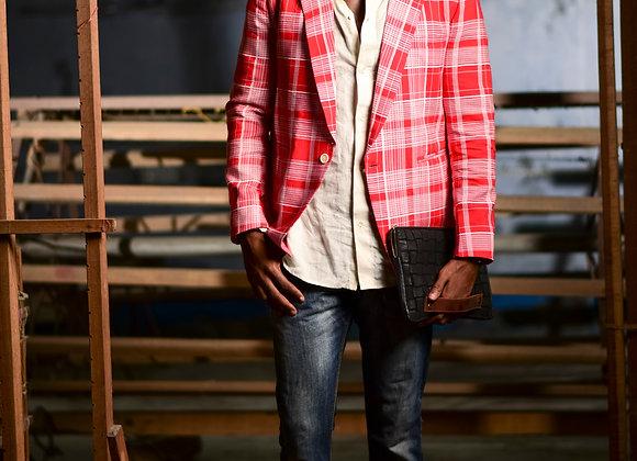 Chekered red lapel jacket
