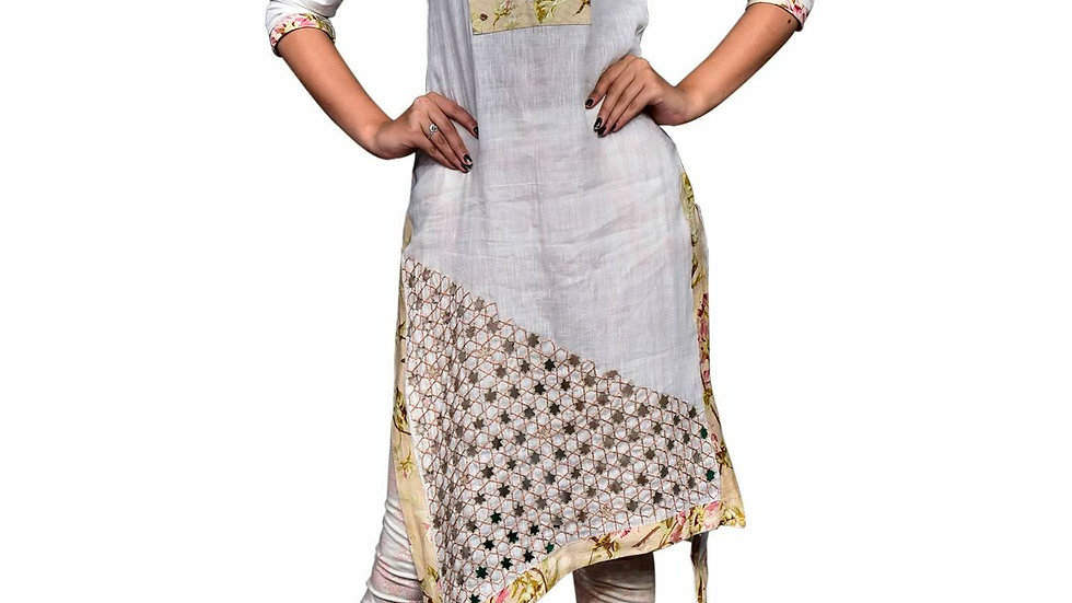 Handembroidered and printed linen kurta