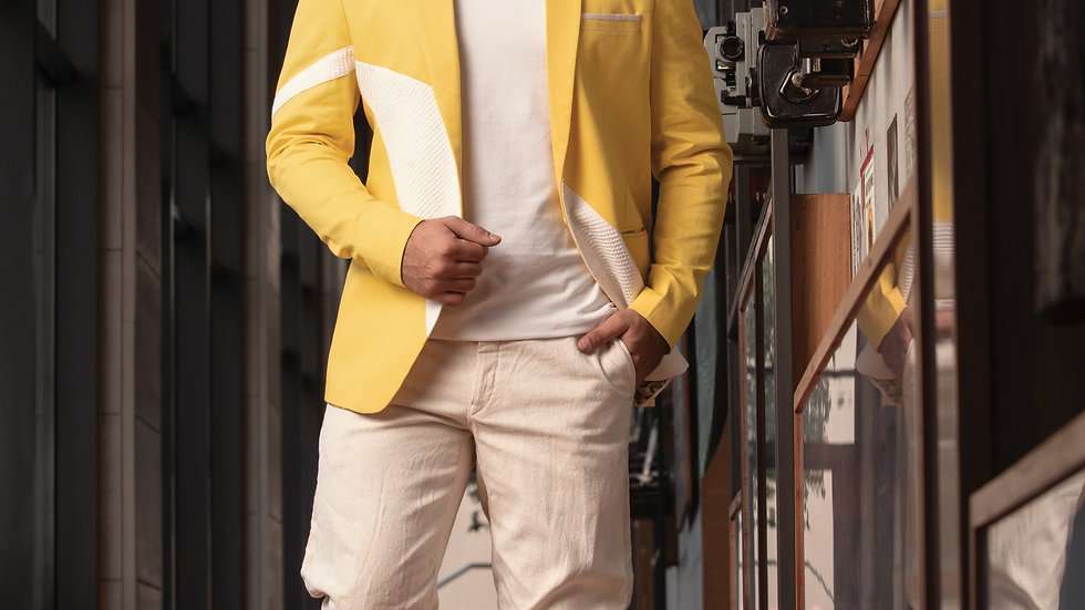 Canary yellow panelled  cotton summer jacket