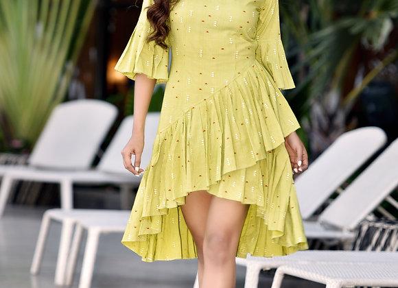 Asymmetrical printed dress