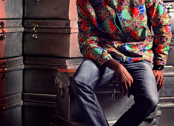 Rooster printed bomber jacket