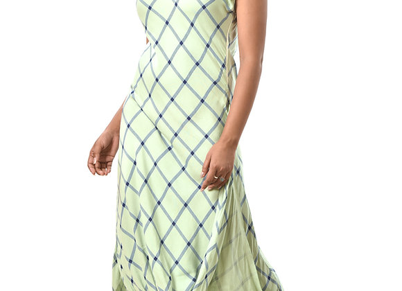 Checkered draped dress