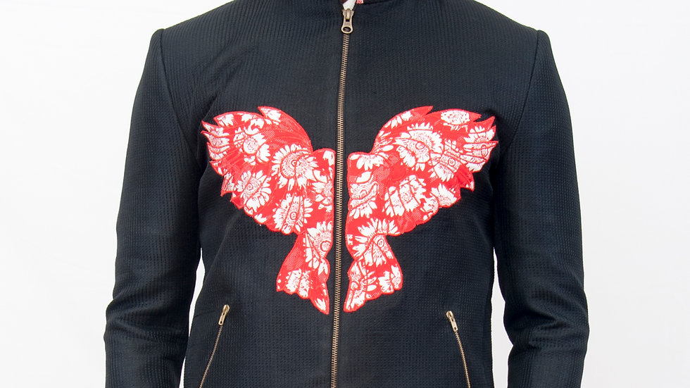 Appliqued bomber jacket