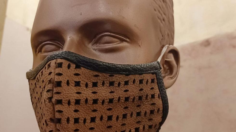 Leather lasercut covid mask