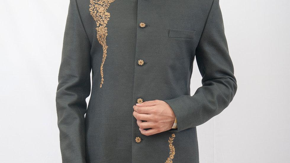Handembroidered linen Bandhgala