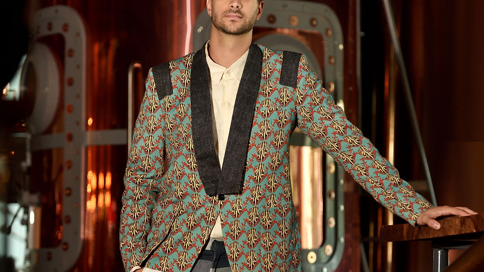 Digital printed linen toad lapel jacket
