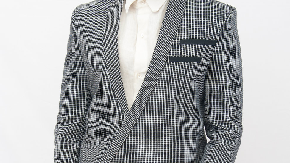 Handwoven linen checks asymmetrical shawl collar jacket