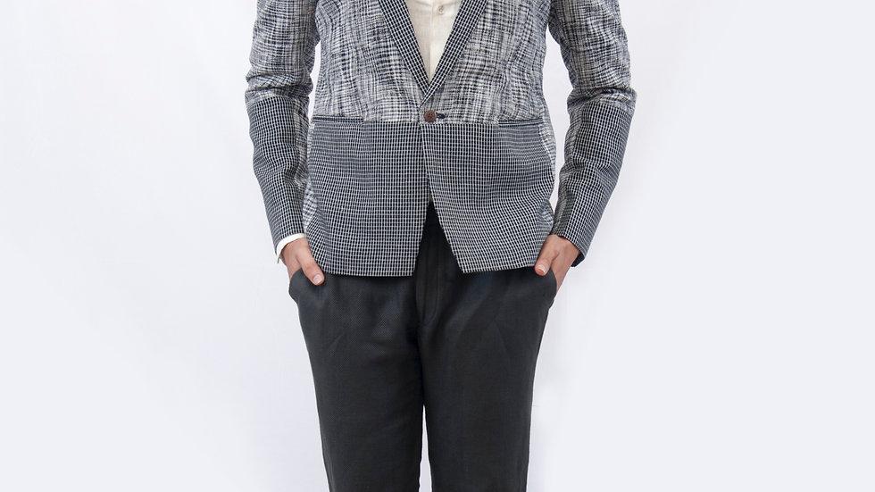 Handwoven linen paneled shawl collar jacket
