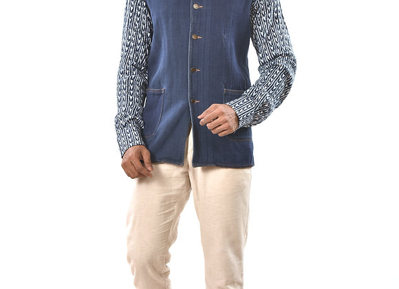 Handwoven denim bundi