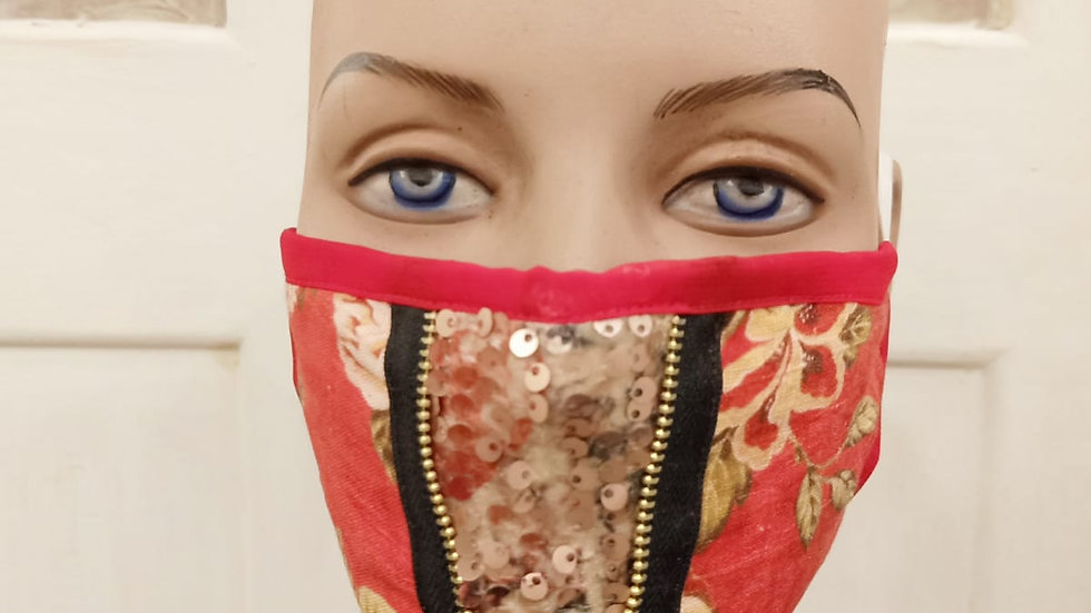 digital printed zippered sequencepanelled covid mask