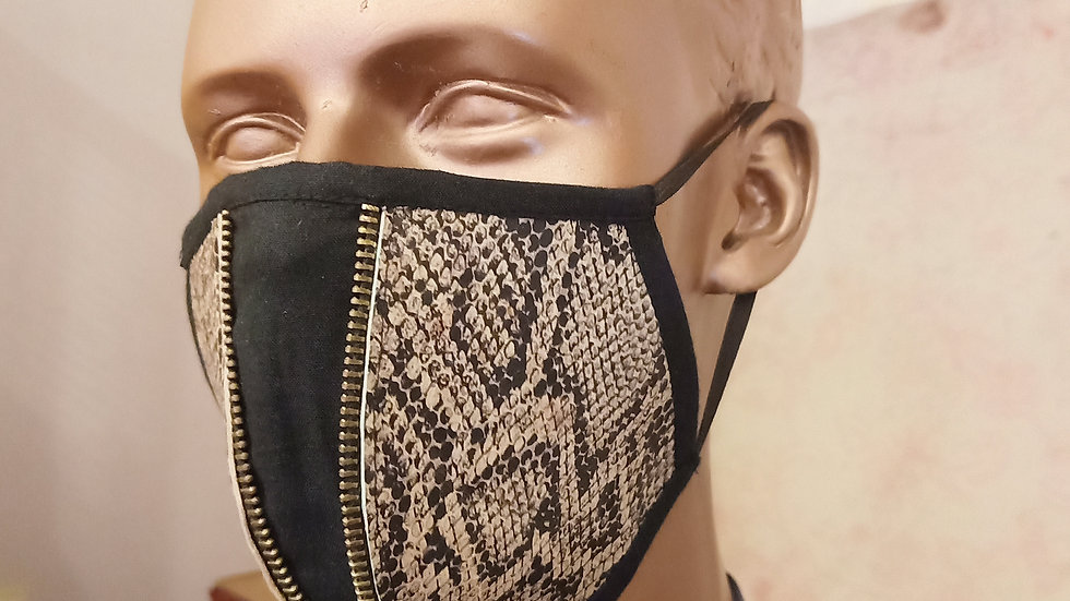 Genuine snakeskin print leather zippered mask