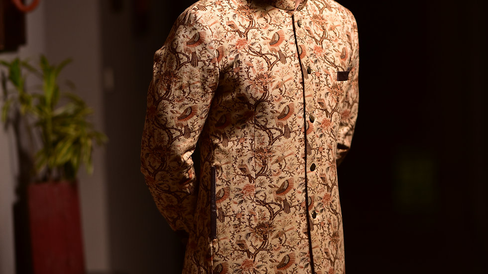 Digital printed long achkan with leather detailing