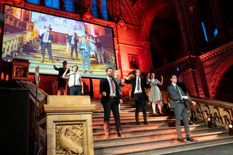 Performance of a sketch from 'Pool Noodles' at the Natural History Museum with the Cambridge Footlights.