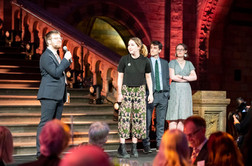 Performance at the Natural History Museum with the Cambridge Footlights. Will's mic didn't work so they gave him a handheld