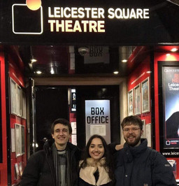 Noah and Will perform some sketches with Bella Hull at the Leicester Square Theatre, 2018