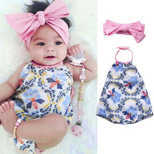54b24732face 2Pcs Baby Girls Infant Floral Toddler Jumpsuit RomperHeadband