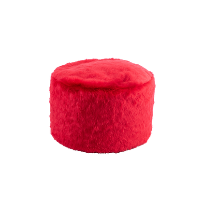 Faux Fur Poof Red