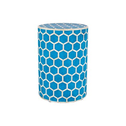 Honeycomb Camel Bone Stool - Blue