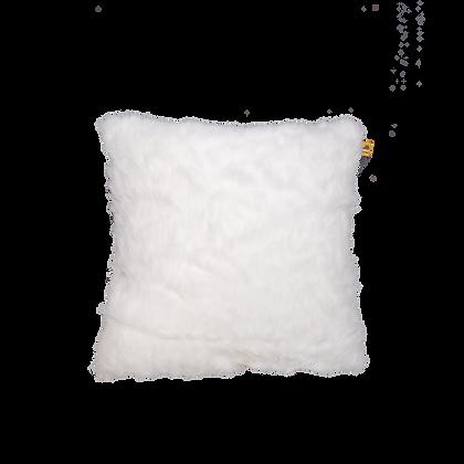 Faux Fur Cushion White