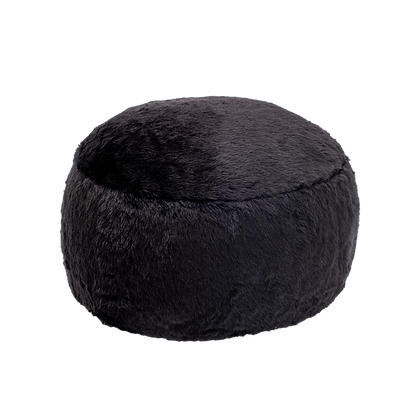 Faux Fur Poof Black