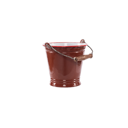 Iron Bucket Planter - Brown - Medium Size