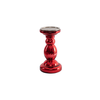 Glass Candle Stand Red