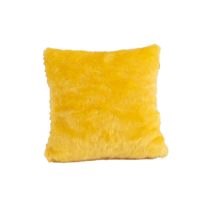 Faux Fur Cushion Yellow