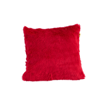 Faux Fur Cushion Red