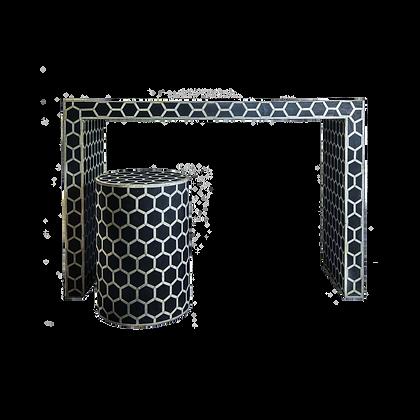 Honeycomb Camel Bone Console & Stool - Black & White