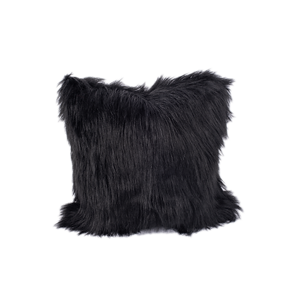 Faux Fur Cushion Black